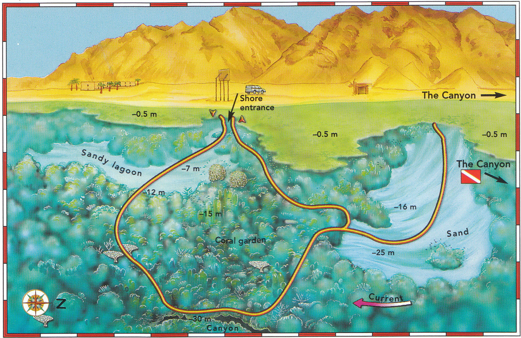 Abu Helal map - Sunsplash Divers Dahab Egypt
